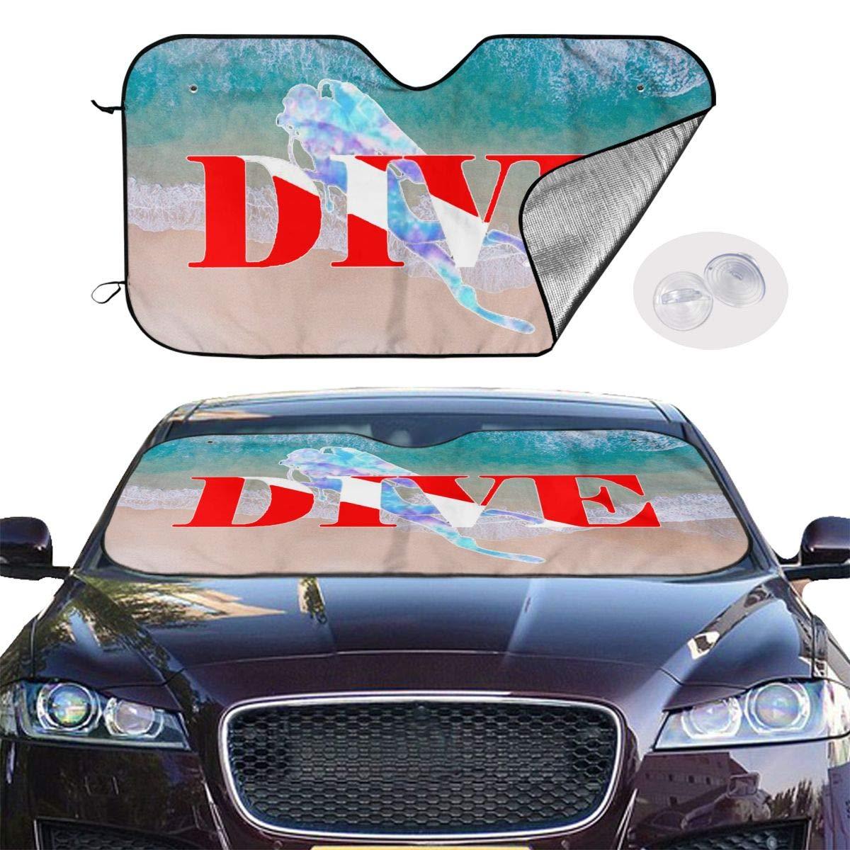 ASDD Scuba Diver Dive Down Flag Dive Windshield Sun Shade ~Universal Fit Car Sun Shade,Keep Your Vehicle Cool ~2 Sizes
