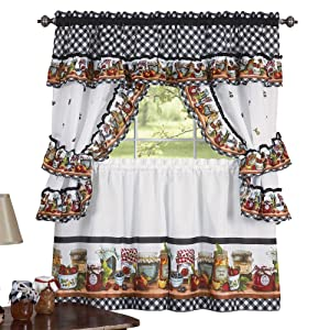 "Collections Etc Mason Jars Kitchen Rod Pocket Window Curtain Set, Brown, 57"" X 36"""