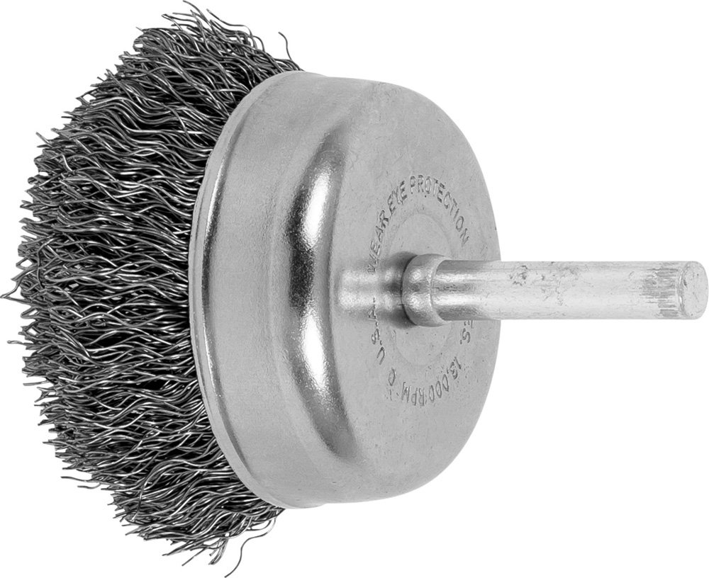 PFERD 82826 Stem Mounted Crimped Wire Cup Brush, Carbon Steel Wire, 2' Diameter, 1/4' Stem Diameter, 0.012 Wire Diameter, 13,000 Max rpm (Pack of 10) 2 Diameter 1/4 Stem Diameter PFERD Inc.