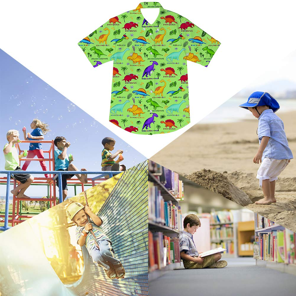 Goodstoworld Boys Button Down Shirts Kids Casual Short Sleeve Cotton Button Up Cool Dinosaur Print Tees Tops Blouse 5-6T by Goodstoworld (Image #5)