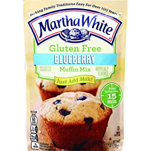Martha White Gluten Free Muffin Mix with Artificial Blueberry Bits, 7 Ounce (Pack of 12)