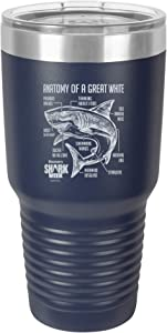 SHARK WEEK - ANATOMY OF A GREAT WHITE SHARK Stainless Steel Insulated 30oz Tumbler With Lid- Navy