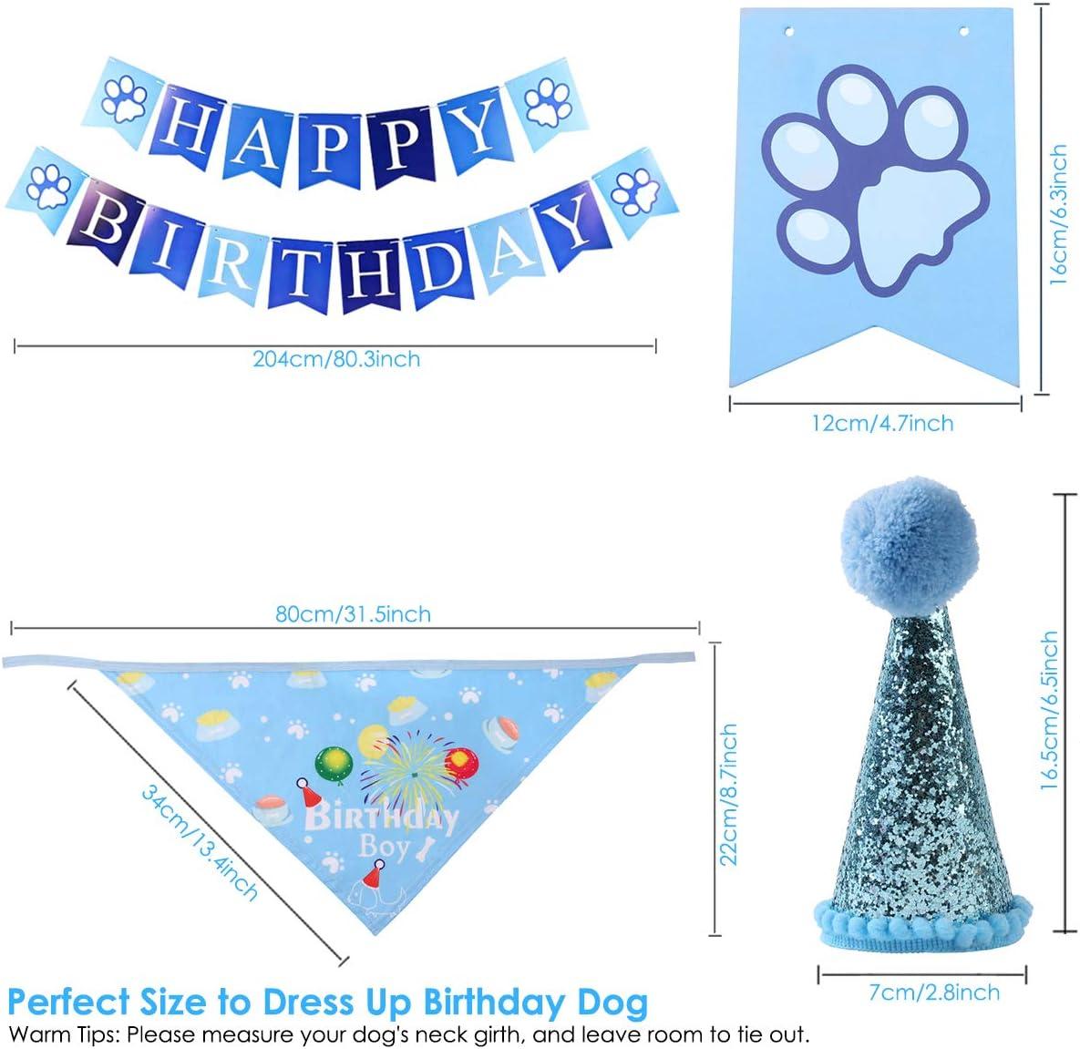 Yuehuam Dog Birthday Party Supplies,Boy or Girl Dog Bandana Scarf ...
