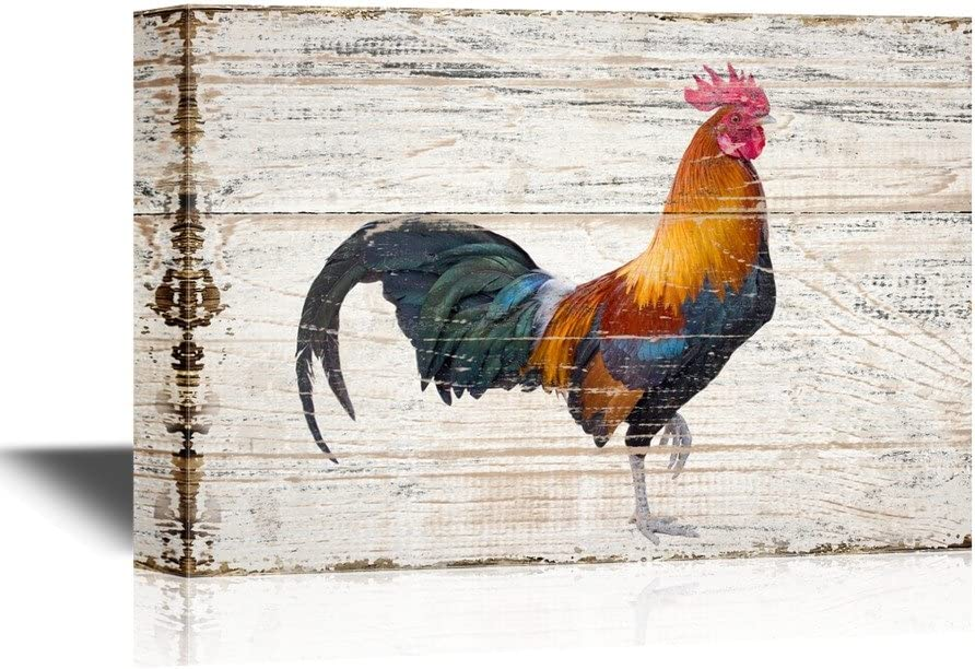 wall26 - Birds and Poultry Canvas Wall Art - A Colorful Rooster - Vintage Wood Style Giclee Print Gallery Wrap Modern Home Art | Ready to Hang - 16x24 inches