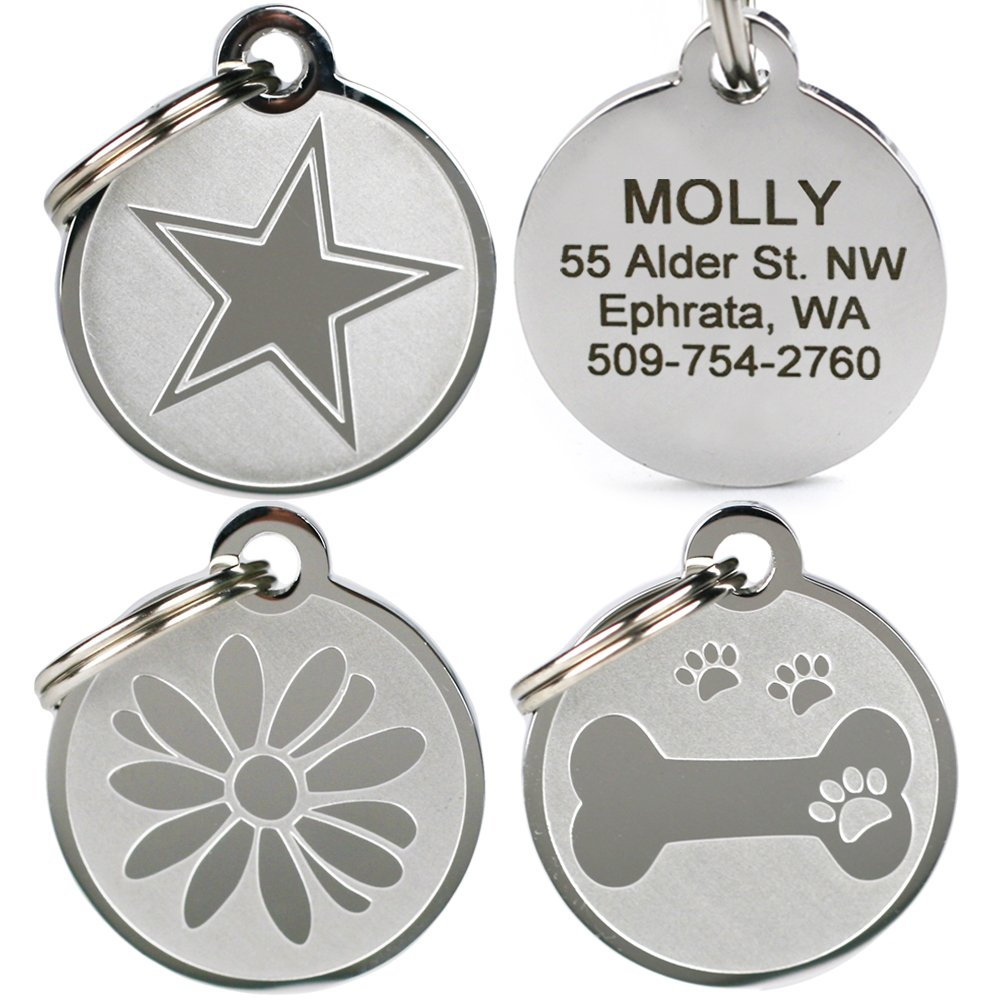 GoTags Pet ID - Playful, Custom Engraved Dog & Cat Pet Tags. Solid Stainless Steel, Personalized, and Fun. by GoTags Pet ID