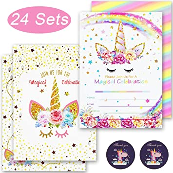 GIRLS PARTY UNICORN INVITATIONS CARDS BIRTHDAY INVITES THICK CARDS X 8 ENVELOP