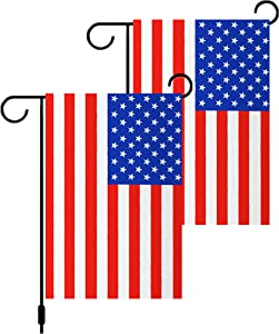 """2 Pack Double Sided Red and White American USA Flags Garden Flags,US Honoring 4th of July Flags 12""""x 18"""",Perfect Decor for Outdoor Yard Porch Patio Lawn"""