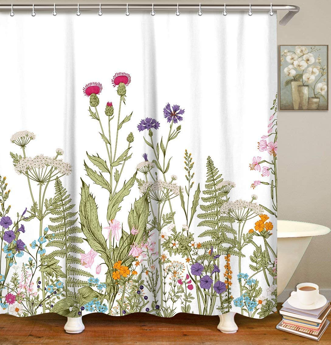 "LIVILAN Botanical Shower Curtain Green Floral with Plant Shower Curtain Vintage Herbs Wild Flowers Bath Curtains Set with Hooks Colorful Flowers Bathroom Decor,70.8"" X 83.8"""