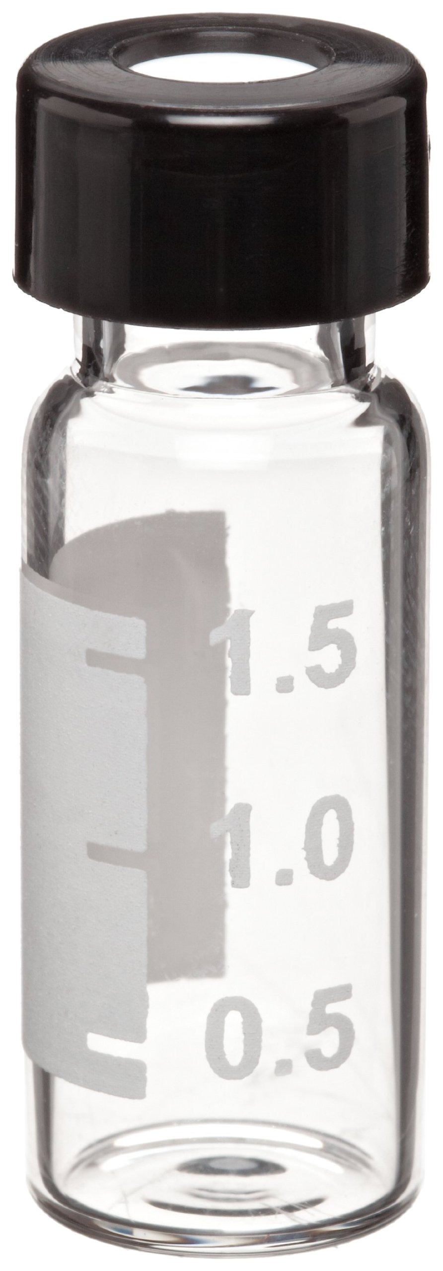 Wheaton W225151-06 Borosilicate Glass 1.8mL Writing Patch Vial with 0.010 PTFE Lined 9mm ABC Screw Cap, Clear/Natural (Case of 100)