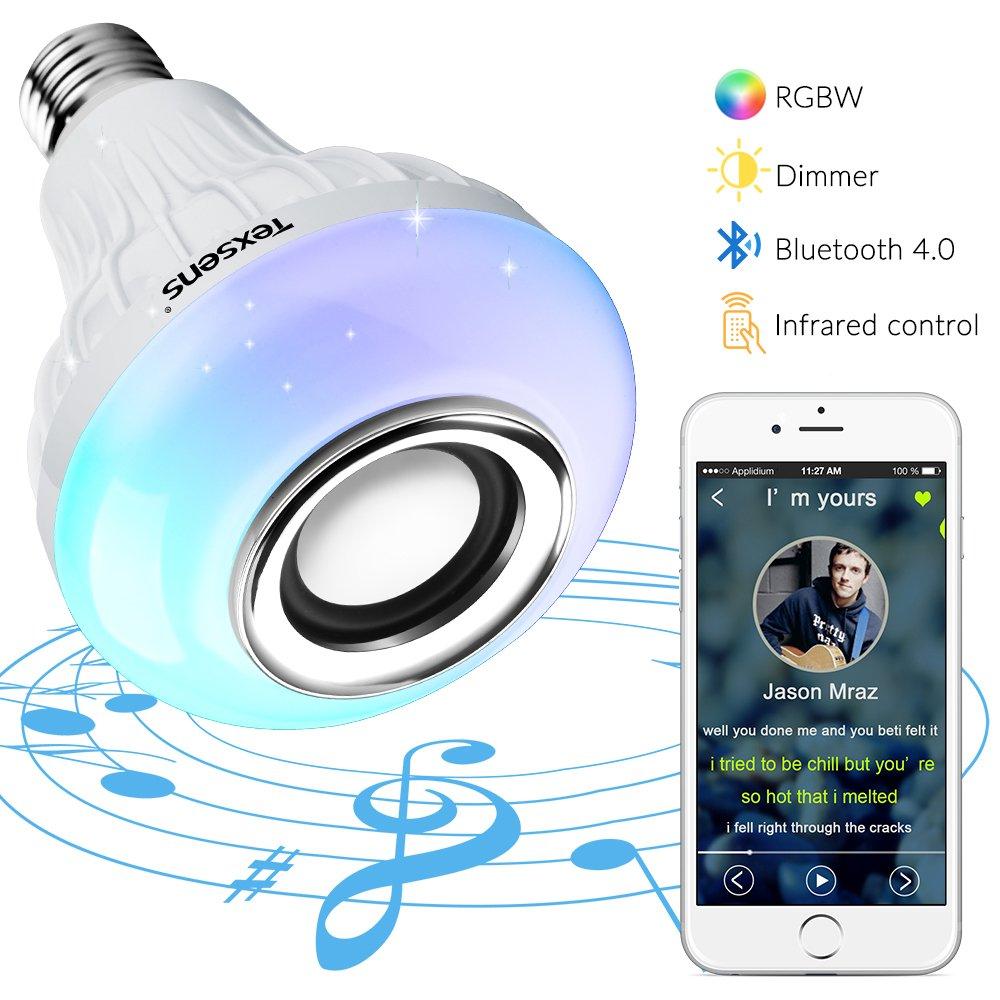 Bombilla Inteligente de altavoz Bluetooth, Texsens Mú sica Lá mpara Smart LED Bombilla E27 RGB Color Luz como Alexa Echo de altavoz con Control remoto para iOS y Android