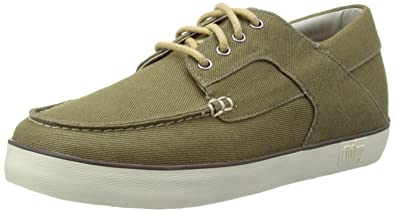 fa5847a13241a9 Fitflop Mens Monty Canvas Boat Shoes 278-261 Dark Olive 7 UK