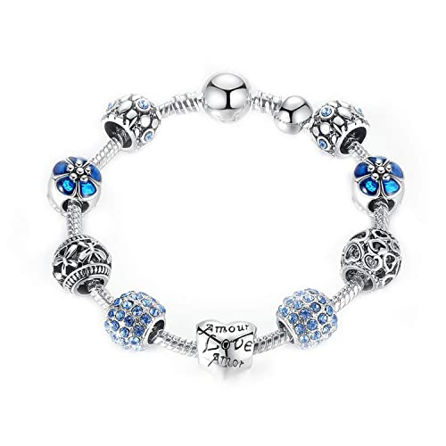 37c102dd4 Syangpang Love Charms fit Pandora Bracelet Beads for Girls and Women  Amethyst Beads Rose Flower Charms