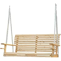 Outsunny 5ft Wooden Porch Swing Chair Seat Hanging Bench FSC Certificated Wood Deck with Chain