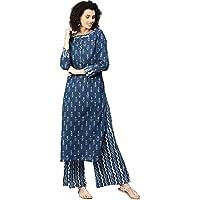 Jaipur Kurti Women Blue Ethnic Motifs Straight Cotton Kurta with Palazzo