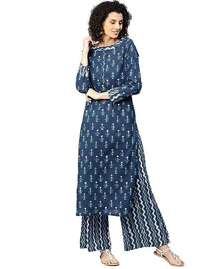7b3505fd59 Jaipur Kurti Women's Straight Salwar Suit Set (JKPLZ3316_Blue_small)