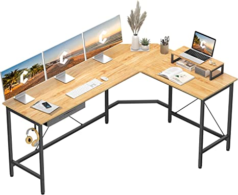 Natural Cubiker Modern L-Shaped Computer Office Desk Home Study Writing Table Workstation for Small Spaces Corner Gaming Desk with Monitor Stand