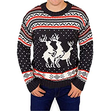 BSG Ugly Christmas Jumper Mens Reindeer Threesome Pullover