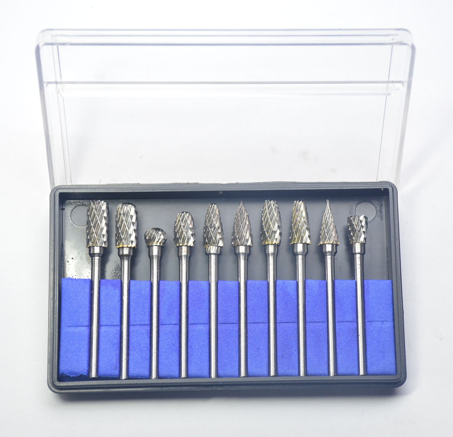 KOTVTM 10PCS Solid Carbide Burrs for Rotary Drill Die Grinder Carving Tool Set