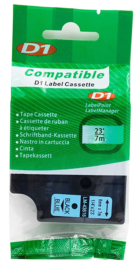 "LM Tapes - Premium LM43616 1/4"" Black on Blue Compatible Label Maker Tape"
