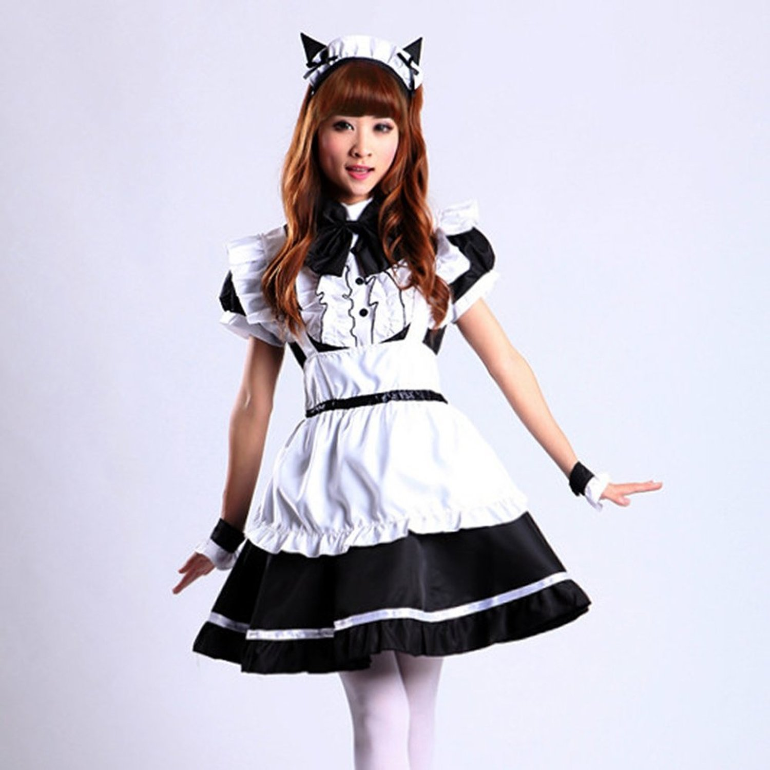 Amazon.com  VSVO Women s Cat Ear French Maid Cosplay Dress Halloween Costume   Clothing 226f88199