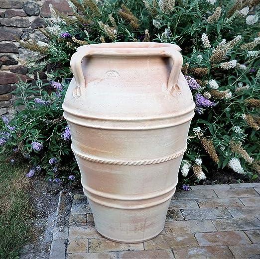 Maceta de cerámica con asa, Hecha a Mano de Terracota auténtica para el Exterior, Planta Decorativa de jardín, 60 – 90 cm: Amazon.es: Jardín