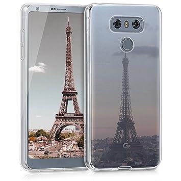 kwmobile Funda para LG G6 - Carcasa de TPU para móvil y diseño Torre Eiffel en Antracita/Rosa Claro/Transparente