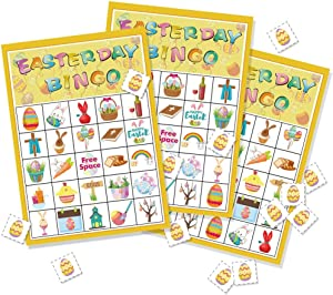 Omgouue Easter Day Bingo Game Party Supplies for Kids 24 Player