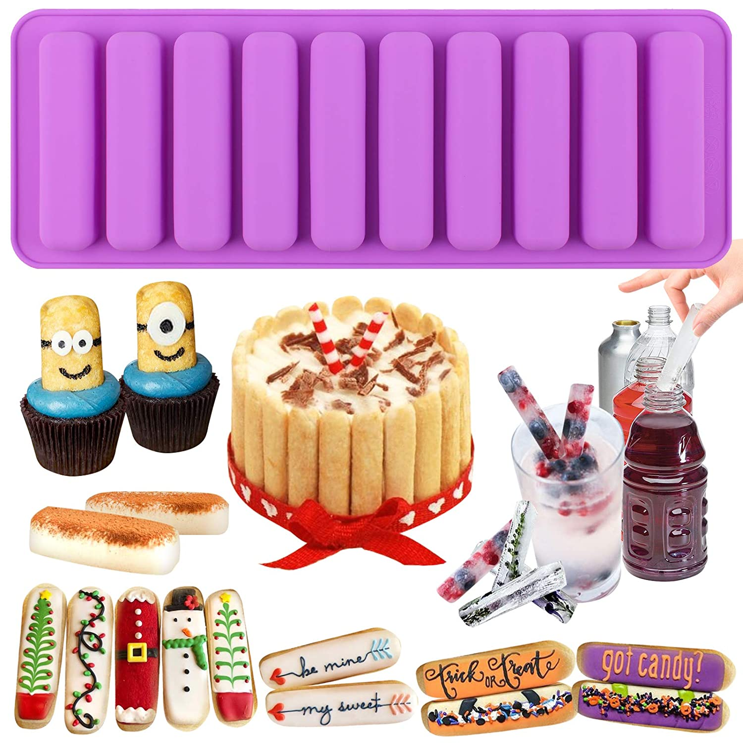 Funshowcase Rectangular Oblong Chocolate Cracker Bar Stick Block Ice Cube Jelly Tray Cylinder Silicone Candy Mold