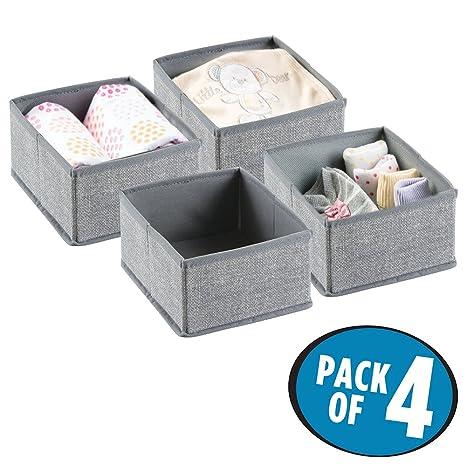 mDesign Organizador para bebés (juego de 4) – Cesta organizadora para pañales, toallitas