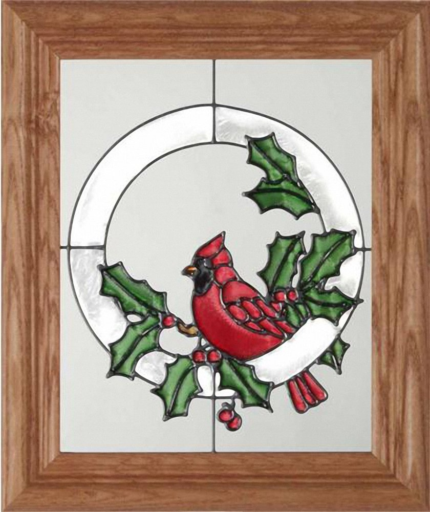 Holiday Cardinal Holly Berries Vertical Art Glass Panel with Wooden Frame 12 x 10