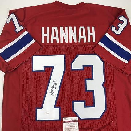Autographed/Signed John Hannah HOF 91 New England Red Football Jersey JSA COA