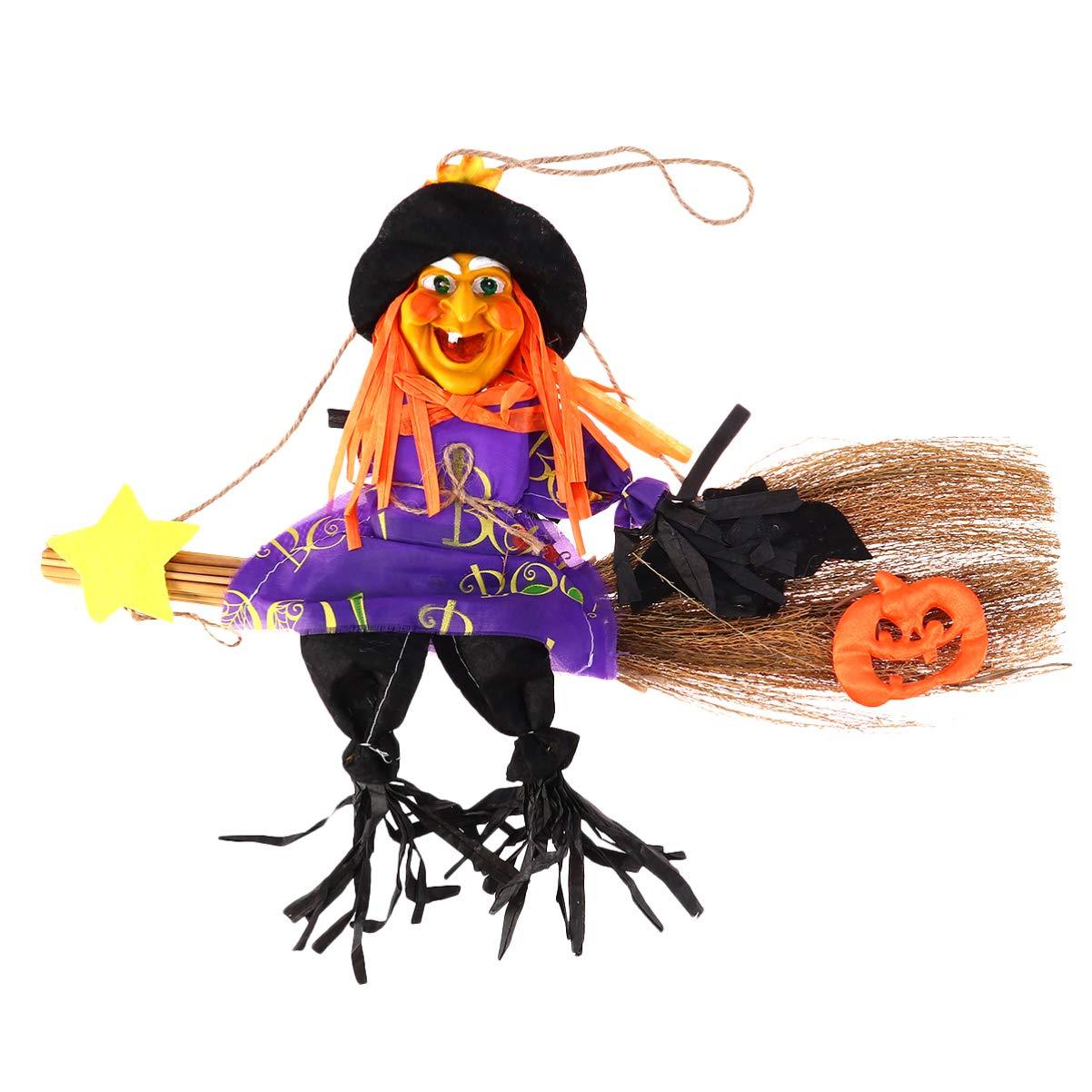 Amosfun Escoba de Bruja de Halloween decoraci/ón Escoba de Paja Adorno Colgante Fiesta de Halloween decoraci/ón Colgante Suministros