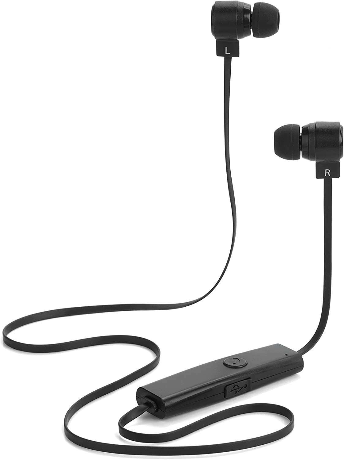 INTEMPO EE1249 Round Head Wireless Bluetooth Headphones for iPhones, Androids and Other Smart Devices, 10 m Wireless Range, Built-In Hands-Free Microphone, Including 3 Sets of Earbuds, Black