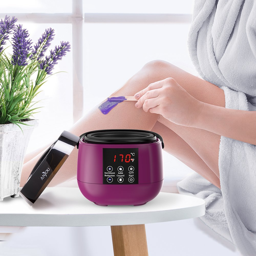 4cc5d351a Wax Warmer, Waxing Hair Removal Kit with LED Screen Display, Anjou Electric  Wax Heater with ...