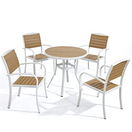 Surprising D Garden White Patio Aluminum Dining Chairs Set Of 4 And White Round Dining Table 31 5 D Stackable Chairs 5 Piece Furniture Set Imitation Wood Pabps2019 Chair Design Images Pabps2019Com