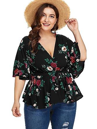 11ad810cd4d87 Romwe Women s Plus Size Floral Print Short Sleeve Belt Tie Peplum Wrap  Blouse Top Shirts Black