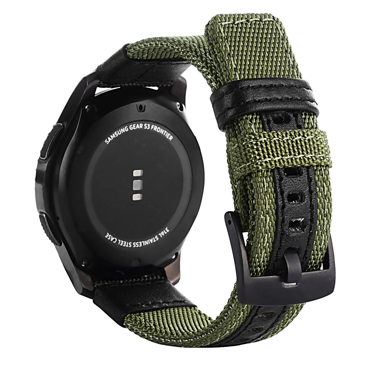 Gear S3 Bands Nylon, Maxjoy S3 Frontier Classic Band 22 mm Nylon Replacement Strap Galaxy Watch 46mm Bands Large Sport Wristband with Stainless Metal Buckle for Samsung Gear S3 Smart Watch, Army Green by Maxjoy