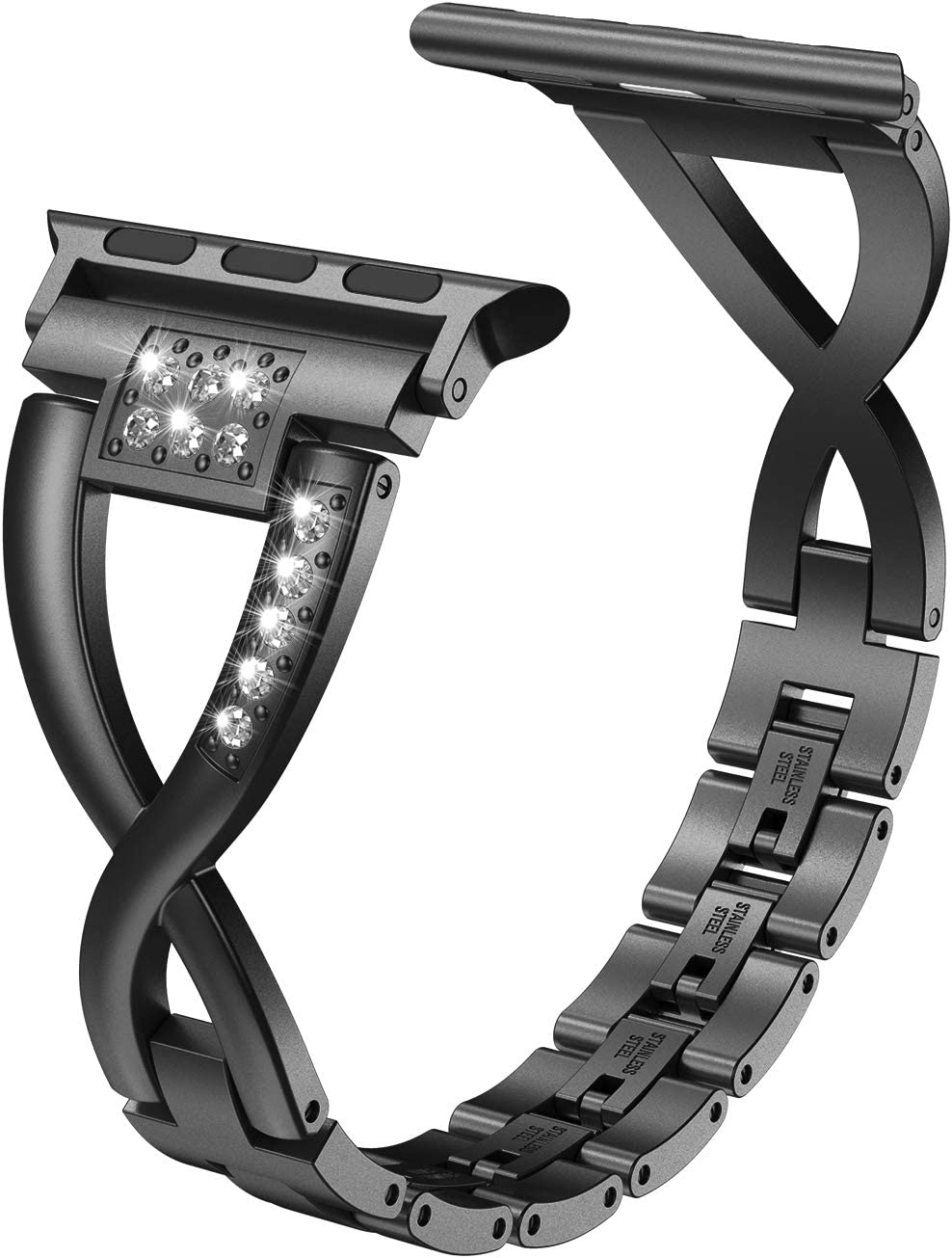 Wearlizer Bling Compatible with Apple Watch Band 42mm 44mm Rhinestone for iWatch SE Black Strap Metal X-Link Wristband Sleek Dressy Replacement Metal Removal Clasp Series 6 5 4 3 2