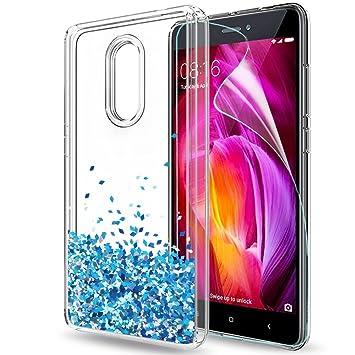 LeYi Funda Xiaomi Redmi Note 4X / 4 Silicona Purpurina Carcasa con HD Protectores de Pantalla,Transparente Cristal Bumper Telefono Gel TPU Fundas Case ...