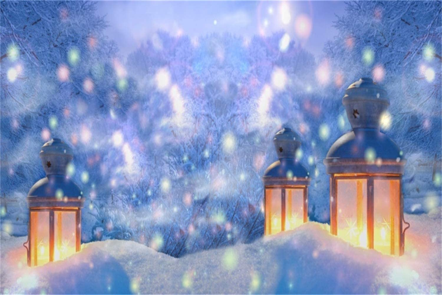 10x6.5ft Christmas New Year Backdrop Polyester Dreamlike Snowy Forest Frosty Pine Trees Old Lighting Lanterns Snowfield Flying Snow Light Spots Background Xmas New Years Eve Party Banner Studio