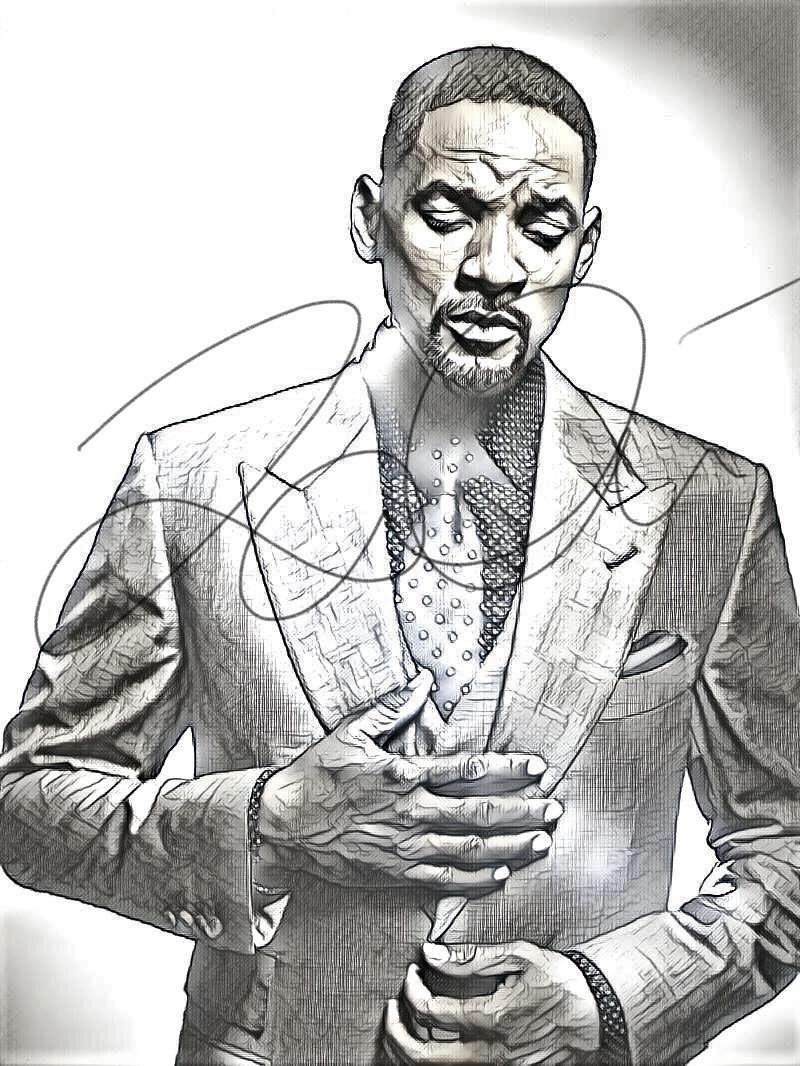 Will smith sketch drawing print poster hand drawn pencil actor willsmith sketch3 amazon ca handmade
