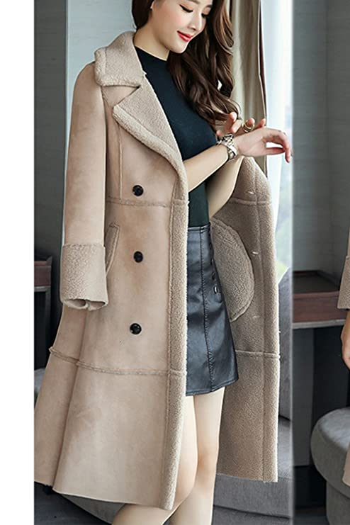 Amazon.com: Zilcremo Women Winter Casual Turn-down Collared Double Breasted Warm Thicken Fleece Lined Parkas Outercoat: Clothing