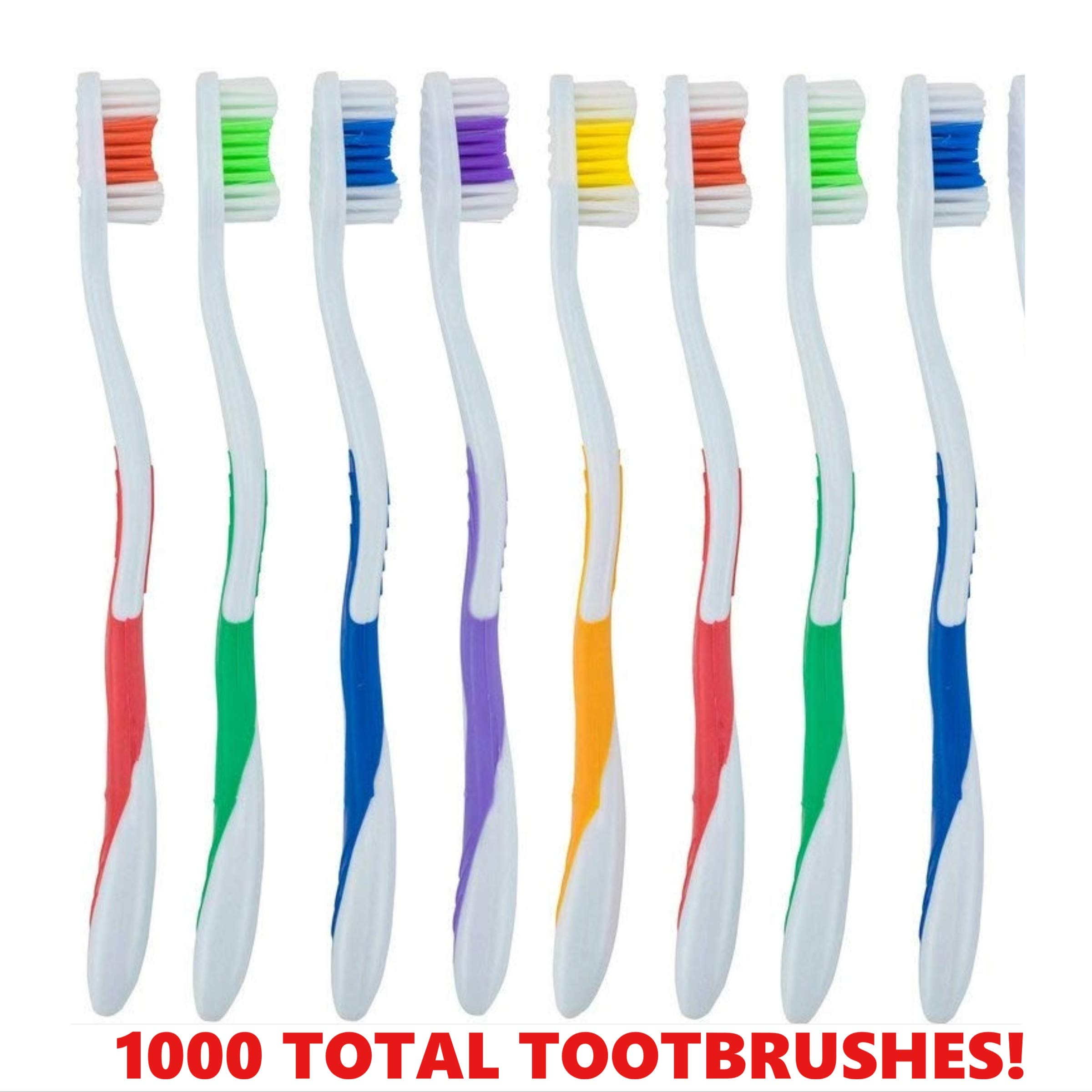 1000 Pack Toothbrushes Individually Wrapped Standard Medium Bristle, for Travel, Hotel, Guests, Disposable use and More