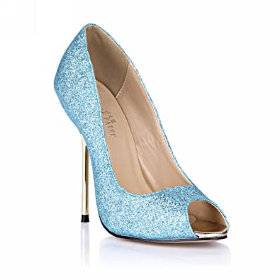 c81b97bf16e1 Peep Toe Club Pumps Stiletto Evening Party High Heels Women Dolphin Girl  Cute Blue Shiny Glitter