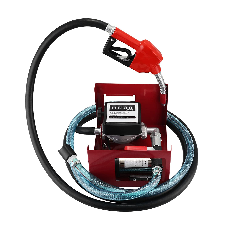 OldFe 40L/min Pompa Gasolio Elettrica 220V Con Pistola Automatica Contatore 220V 600W Pompa Gasolio Elettrice Liquidi Diesel Pompa Gasolio Professionale (40L)