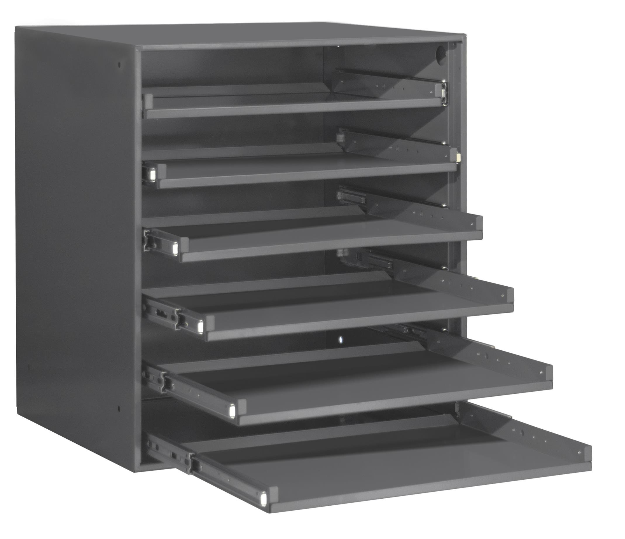 Durham 321B-95 Heavy Duty Bearing Slide Rack Without Door (Holds 6 Large Compartment Boxes), 20-5/16'' x 15-15/16'' x 21-7/8''