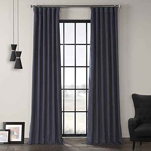 HPD Half Price Drapes LN-XS1705-108 French Linen Curtain 1 Panel , 50 X 108, True Navy