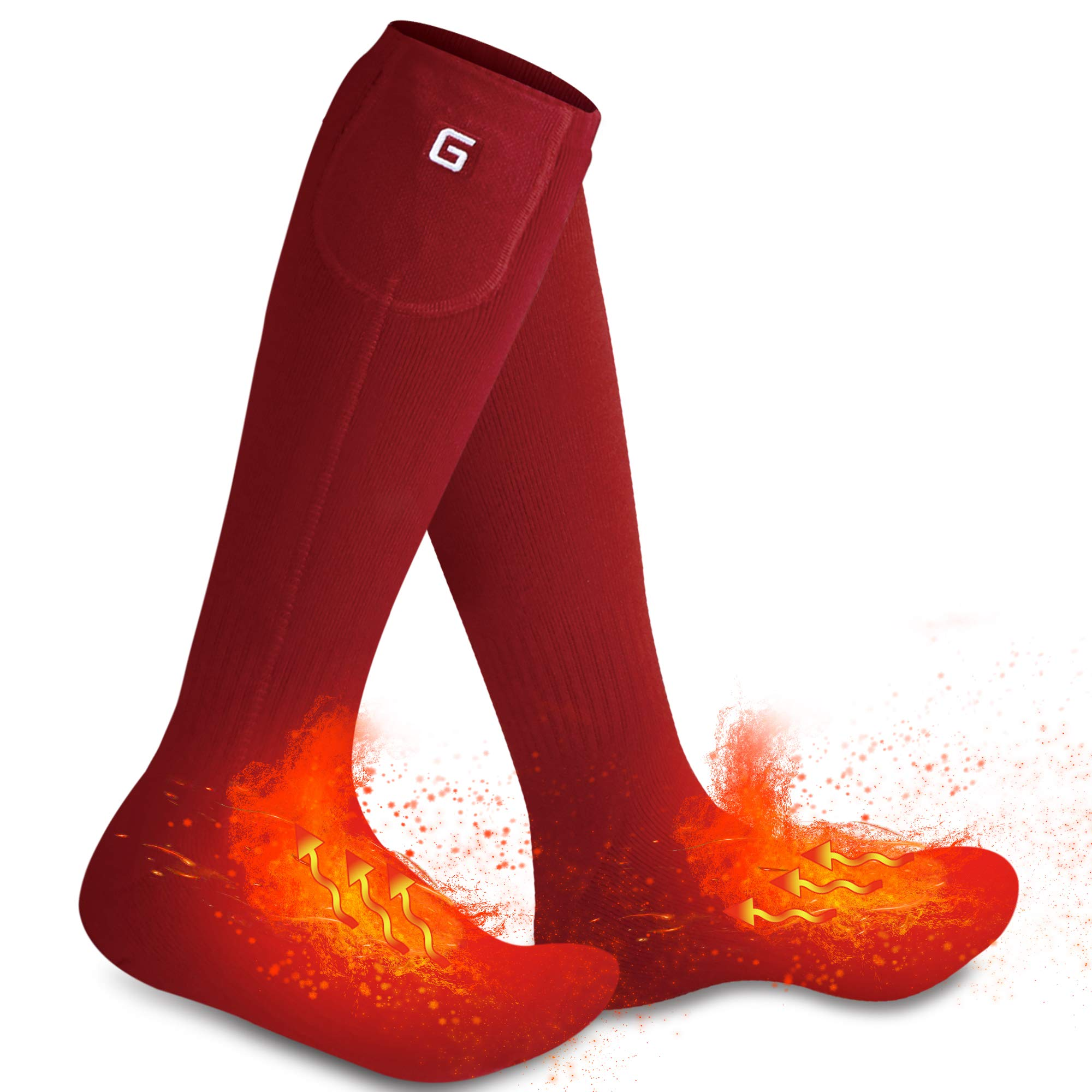 Autocastle Rechargeable Electric Heated Socks,Men Women Battery Powered Heated Socks Kit,Winter Warm Thermal Heated Socks for Chronically Cold Feet,Novelty Sports Outdoors Camping Hiking Socks (Red) by Autocastle