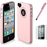 TOOGOO (R) Baby Pink Cute Girls Ultraduenne Ice Cream Glaenzende Handyhaut Protective Case Cover for iPhone 4 4S with Screen Protector and Pink Stylus