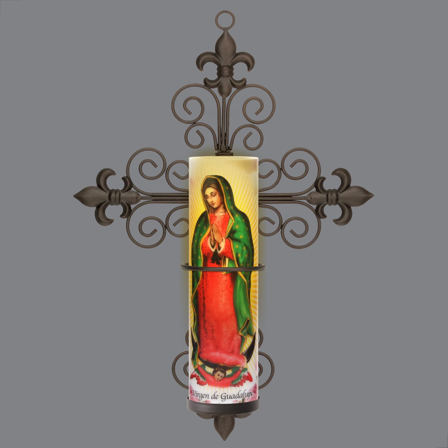 Virgin of Guadalupe LED Flameless Devotion Prayer Candle 4 Hour Timer, Religious Gift The Saints Gift Collection SB-5262A